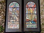 Projekty witraży przedstawiające Św. Michała Archanioła iŚw. Eufemię